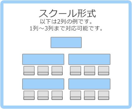 スクール形式:以下は2列の例です。1列~3列まで対応可能です。