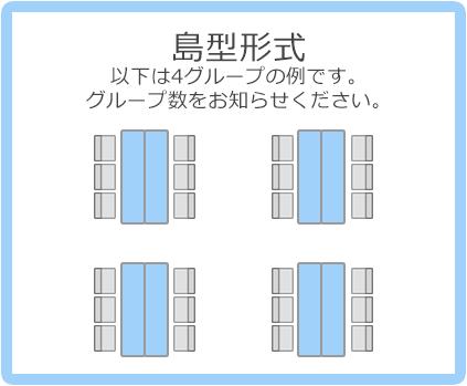 島型形式:以下は4グループの例です。グループ数をお知らせください。