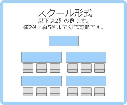 スクール形式:以下は2列の例です。横2列×縦5列まで対応可能です。